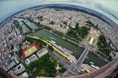 Paris center aerial view at day time, wide angle of view Royalty Free Stock Images