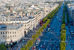 Paris, Champs Elysees. (Champs-Élysées), view from Triumphal Arch Royalty Free Stock Image