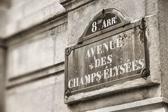 Paris - Champs Elysees. Paris, France - Champs Elysees street sign. One of the most famous streets in the world Royalty Free Stock Photo