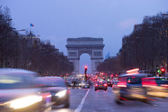 Paris, Champs-Elysees, Arc de triomphe Royalty Free Stock Photos