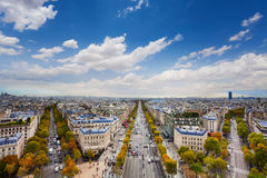 Paris and Champs Elysees form Arc de Triumph Stock Photos