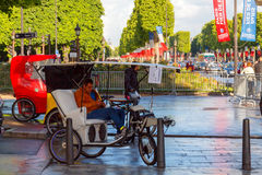Paris. Champs - Elysees. Paris, France - May 11, 2014: Cyclists on the Champs Elysees in Paris on a spring morning royalty free stock photos