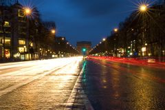 Paris, Champs-Elysees. At night Royalty Free Stock Photography