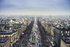 Paris, Champs Elysees and pollution. Paris, top view of Champs Elysees avenue and polluted sky Stock Images
