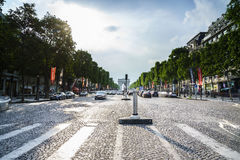 Paris. Champs Elysees. Very high resolution, 42.2 megapixels. Vehicles travel along avenue Champs Elysees - one of a famous touristic places in Paris, France stock image