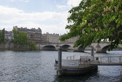 In Paris chestnuts are blooming. View of the Royal Bridge Stock Image