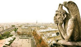 Paris and Chimera on Notre Dame, France Stock Images