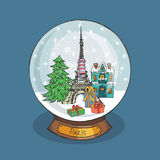 Paris Christmas Snow globe.Doodle city.Noel Royalty Free Stock Image