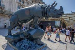 PARIS - CIRCA JUNE 2014: Rhino statue near D'Orsay Stock Photos