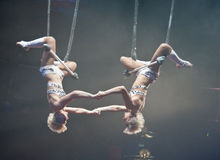 Paris Circus Trapeze Artists. Trapeze act at the Paris Circus Stock Photo