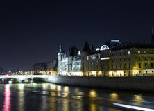 Paris: Cite island view with La Conciergerie Royalty Free Stock Images