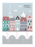 Paris city. Paris city with Eiffel tower royalty free illustration