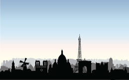 Paris city buildings silhouette. French urban landscape. Paris c. Paris city skyline. French urban landscape. Paris cityscape with landmarks. Travel France stock illustration