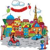 Paris city cartoon. Have a nice day stock illustration