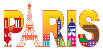 Paris City Eiffel Tower Silhouette Text Color Vect. Paris France City Skyline Text Outline with Eiffel Tower Color with Reflection Isolated on White Background vector illustration