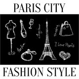 Paris city. Fashion style symbols of the city. Vector Stock Photography