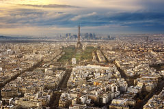 Paris city in France by sunset Stock Image