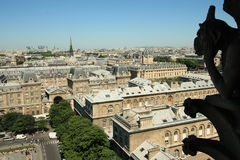 Paris city and gargoyle from cathedral Notre Dame. Paris city view from cathedral Notre Dame, France Royalty Free Stock Photo