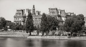 Paris City Hall across the Seine River, Right Bank, France Royalty Free Stock Images