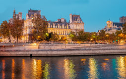 Paris City Hall at dusk near the Seine river. Stock Images