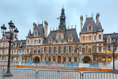 Paris City Hall, Hotel de Ville, in winter Royalty Free Stock Images
