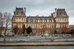 Paris City Hall, Hotel de Ville, in winter Stock Image