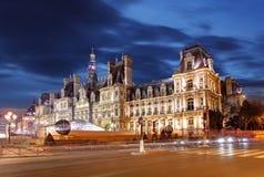 Paris city hall at night - Hotel de Ville Stock Images