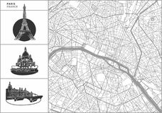 Paris city map with hand-drawn architecture icons. All drawigns, map and background separated for easy color change. Easy repositioning in vector version stock illustration