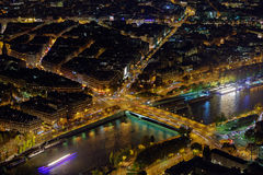 Paris City Night View. The night view of Paris city from the top of Eiffel tower Royalty Free Stock Image