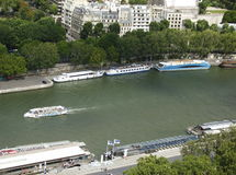 Paris city and river. Panoramic paris city view and river and green trees Stock Image