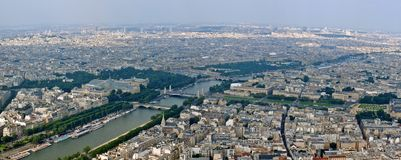Paris city and seine river view from Eiffel tower Royalty Free Stock Photo