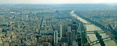 Paris city and seine river view from Eiffel tower Royalty Free Stock Photography