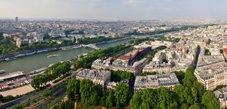 Paris city and seine river view from Eiffel tower Stock Images