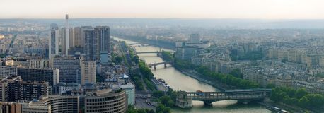 Paris city and seine river view from Eiffel tower Royalty Free Stock Image