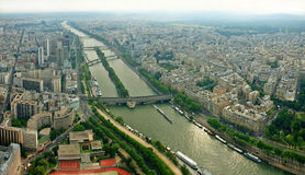 Paris city and seine river view from Eiffell tower Stock Photos