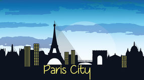 Paris City Silhouette. With Eiffel tower Vector. Skyline stock illustration