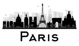 Paris City skyline black and white silhouette. Vector illustration. Simple flat concept for tourism presentation, banner, placard or web site. Business travel stock illustration