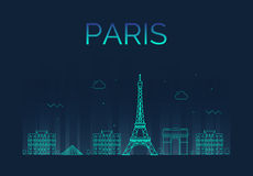 Paris City skyline detailed silhouette. Trendy. Vector illustration, line art style. Dark background stock illustration