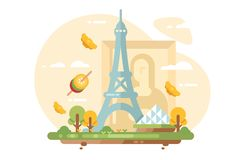 Paris city skyline. Flat style concept. Cityscape with all famous buildings landmarks and traditional dishes vector illustration. France for travel poster and stock illustration