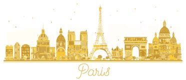 Paris City skyline golden silhouette. Vector illustration. Business travel concept. Paris isolated on white background stock illustration