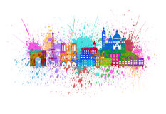 Paris City Skyline Paint Splatter Color Illustration Stock Photography