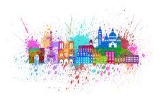 Paris City Skyline Paint Splatter Color Illustration. Paris France City Skyline Outline Silhouette Color with Abstract Paint Splatter on White Background vector illustration