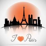 Paris City skyline with reflection. Typographic Design Stock Photos