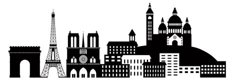 Paris City Skyline Silhouette Black and White Illu. Paris France City Skyline Outline Silhouette Black Isolated on White Background Panorama Vector Illustration stock illustration