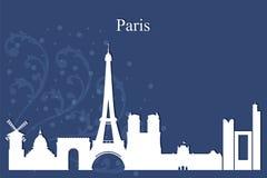 Paris city skyline silhouette on blue background Royalty Free Stock Photo