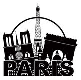 Paris City Skyline Silhouette Circle Black and Whi. Paris France City Skyline Outline Silhouette Black in Circle Isolated on White Background Panorama Vector royalty free illustration