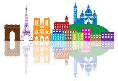 Paris City Skyline Silhouette Color Illustration. Paris France City Skyline Outline Silhouette Color with Reflection Isolated on White Background Panorama royalty free illustration