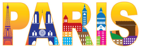 Paris City Skyline Silhouette Text Color Illustrat Stock Photography
