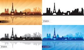 Paris city skyline silhouettes set Stock Photo