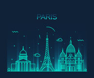 Paris City skyline Trendy vector line art. Paris City skyline detailed silhouette Trendy vector illustration, line art style royalty free illustration